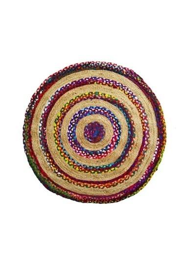 Giz Home Bolero Jüt Örgü Halı 90X90 Y3-2203 Yuvarlak Çok Renkli Renkli